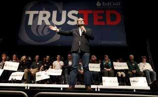 Sen. Ted Cruz speaks to supporters in Orono, Maine, March 4, 2016. Cruz won the Republican presidential primary in Idaho Tuesday. Photo by Joel Page/Reuters