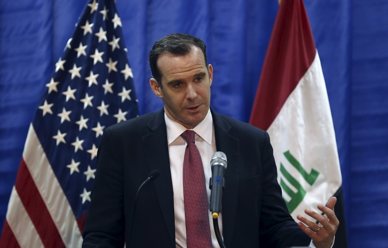 Brett McGurk, President Barack Obama's envoy to the U.S.-led coalition fighting the Islamic State group, speaks to during news conference at the U.S. Embassy in Baghdad, Iraq, March 5, 2016. REUTERS/Hadi Mizban/Pool - RTS9ETA