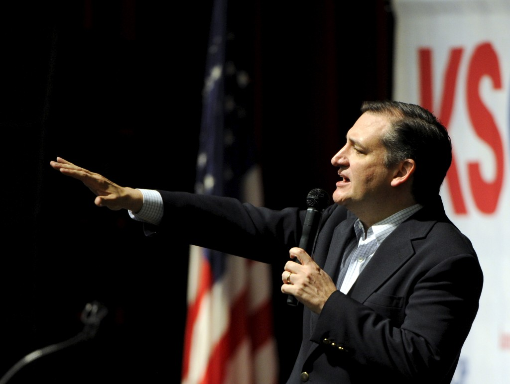 U.S. Republican presidential candidate Sen. Ted Cruz speaks at the Kansas Republican Caucus at the Century II Performing Arts and Convention Center in Wichita, Kansas on March 5. Photo by Reuters/Dave Kaup