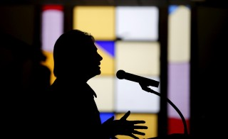 U.S. Democratic presidential candidate Hillary Clinton speaks at a mass at the Russell Street Baptist Church during a campaign stop in Detroit, Michigan, March 6, 2016. REUTERS/Carlos Barria - RTS9JX0