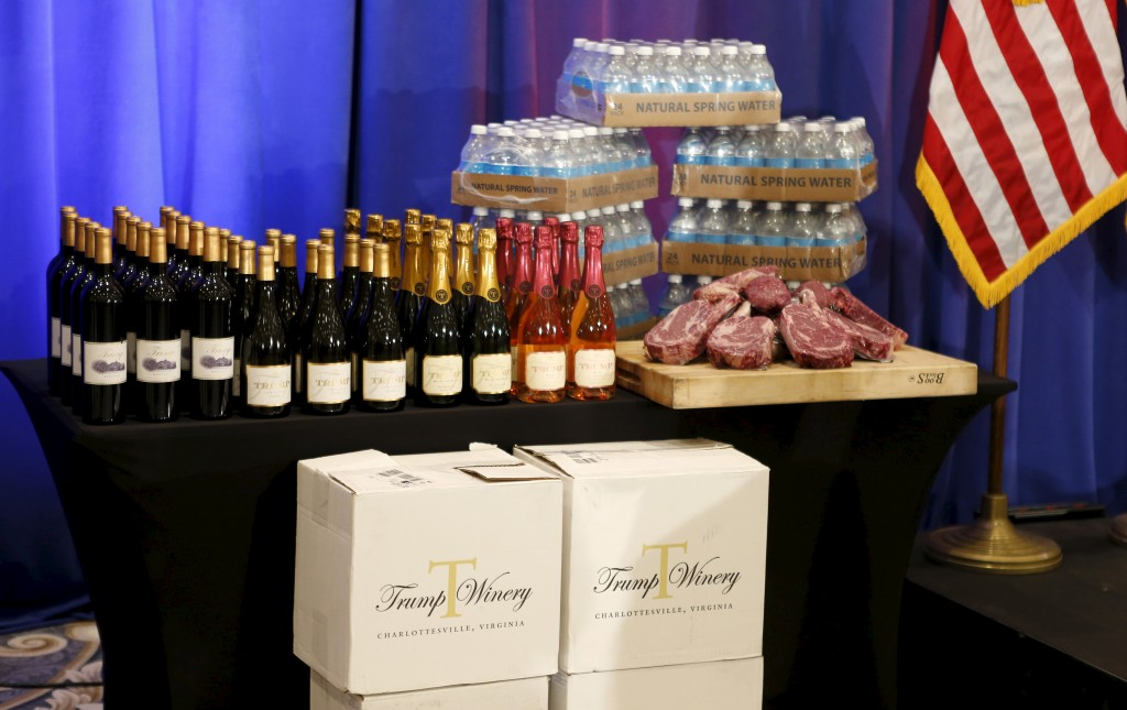 "Steaks and chops described as ""Trump meat"" are shown near the podium with Trump branded wines and water before U.S. Republican presidential candidate Donald Trump was scheduled to appear at a media event at his Trump National Golf Club in Jupiter, Florida, March 8, 2016. Photo by Joe Skipper/Reuters"