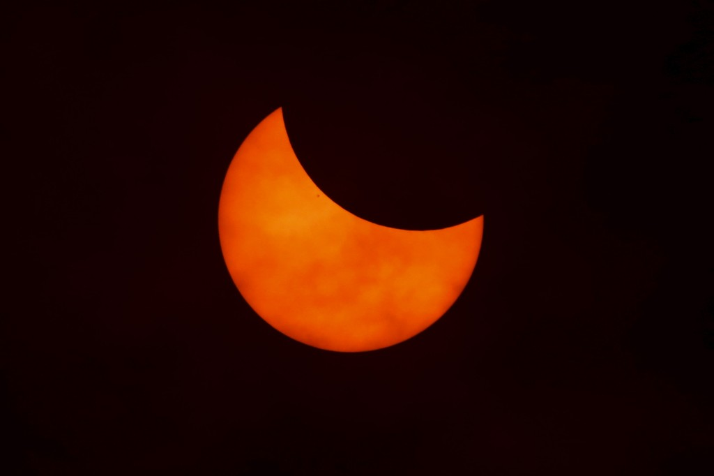 Indonesia's first solar eclipse since 1983 is seen from Ternate island Indonesia