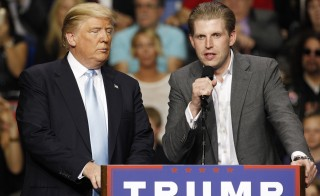 Eric Trump, son of Republican presidential candidate Donald Trump, speaks at a campaign rally for his father in Fayetteville, North Carolina. Photo by Jonathan Drake/Reuters