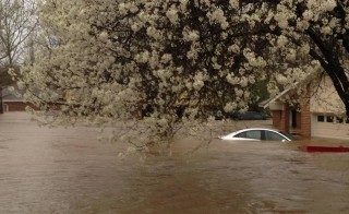 A car is submerged in the Tall Timbers subdivision near Shreveport, Louisiana on March 9 in a photo provided by the Bossier Parish Sheriff's Office. Photo by Deputy Josh Cagle/Bossier Sheriff's Office/Handout via Reuters