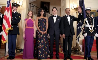 President Barack Obama and First Lady Michelle Obama welcome the Prime Minister of Canada Justin Trudeau and his wife Sophie Gregoire Trudeau before a State Dinner at the White House Thursday. Photo by Joshua Roberts/Reuters