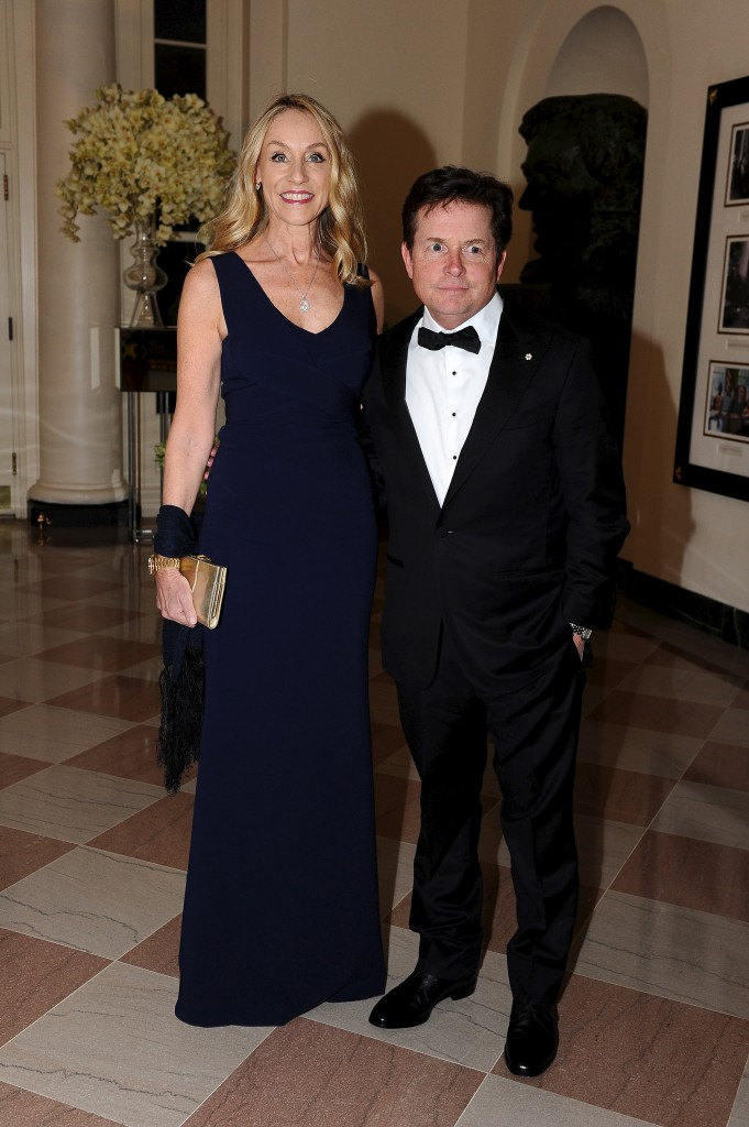 Actor Michael J. Fox and Tracy Pollan arrive for the state dinner in honor of Canadian Prime Minister Justin Trudeau at the White House. Photo by Mary F. Calvert/Reuters