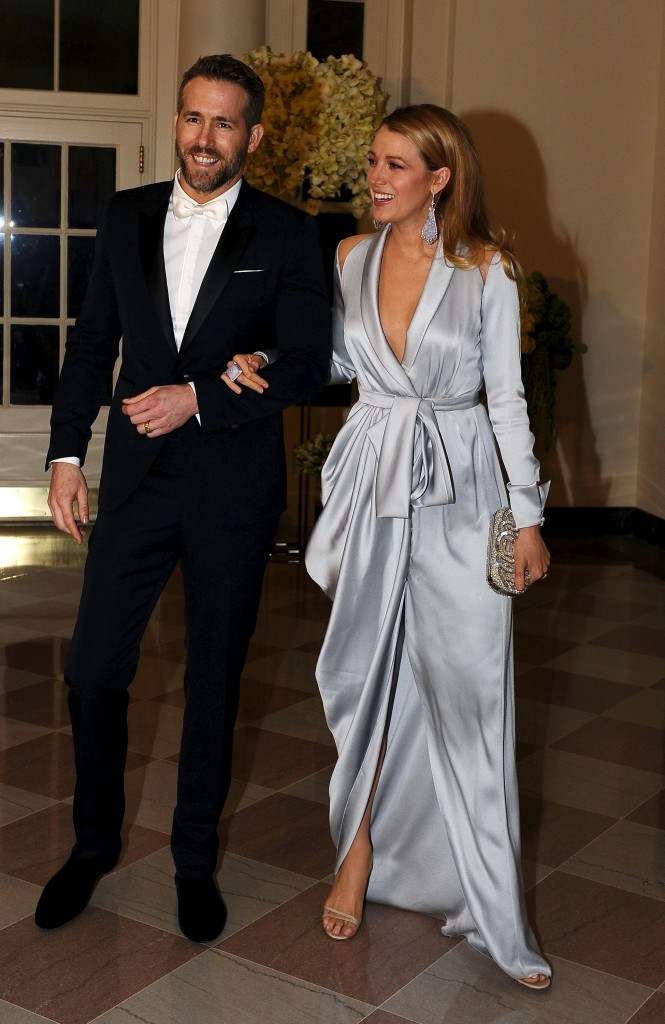 Ryan Reynolds and Blake Lively arrive for the state dinner in honor of Canadian Prime Minister Justin Trudeau. Photo by Mary F. Calvert/Reuters