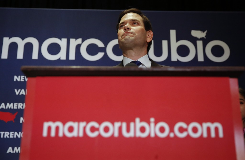 Republican U.S. presidential candidate Marco Rubio announces the suspension of his presidential campaign during a rally in Miami, Florida March 15, 2016.       REUTERS/Carlo Allegri  - RTSAM57
