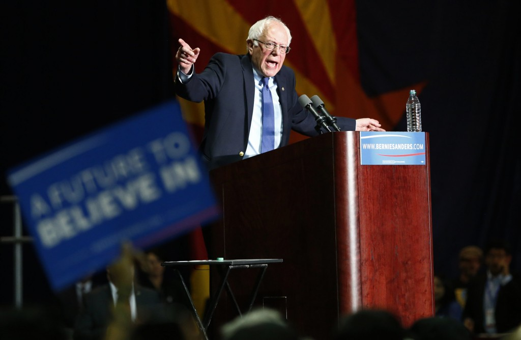 Democratic presidential candidate Bernie Sanders speaks about the primary election results in the states of Florida, Ohio and Illinois during a campaign rally in Phoenix, Arizona. Photo by Nancy Wiechec/Reuters