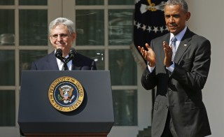 Judge Merrick Garland speaks as President Barack Obama applauds after Obama announced him as his nominee to the U.S. Supreme Court, in the Rose Garden of the White House in Washington, D.C. on March 16. Photo by Kevin Lamarque/Reuters
