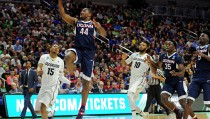 Mar 17, 2016; Des Moines, IA, USA; Connecticut Huskies guard Rodney Purvis (44) shoots the ball against Colorado Buffaloes guard Dominique Collier (15) during the second half in the first round of the 2016 NCAA Tournament at Wells Fargo Arena. Mandatory Credit: Steven Branscombe-USA TODAY Sports - RTSAYI7