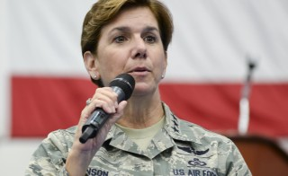 U.S. Air Force General Lori Robinson, Pacific Air Forces commander, addresses Airmen at Andersen Air Force Base, Guam. Robinson has been selected as the next head of the U.S. military's Northern Command, which would make her the first woman to head a U.S. combatant command, U.S. Defense Secretary Ash Carter said Friday. Photo by U.S. Air Force/Senior Airman Katrina M. Brisbin/Handout via Reuters