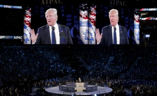 Republican presidential candidate Donald Trump addresses the American Israel Public Affairs Committee (AIPAC) afternoon general session in Washington, D.C. Photo by Joshua Roberts/Reuters