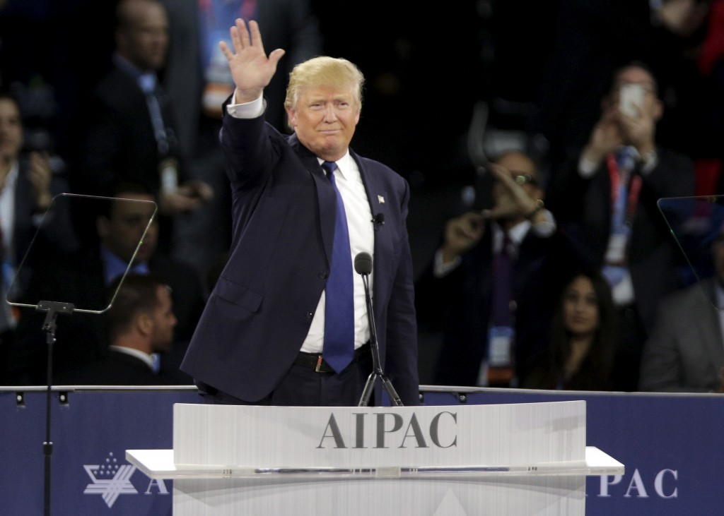 Republican U.S. presidential candidate Donald Trump waves after addressing the American Israel Public Affairs Committee (AIPAC) afternoon general session in Washington March 21, 2016.REUTERS/Joshua Roberts - RTSBJTQ
