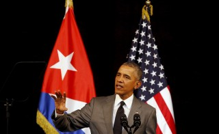 U.S. President Barack Obama makes a speech to the Cuban people in the Gran Teatro de la Habana Alicia Alonso in Havana, March 22, 2016. REUTERS/Stringer        EDITORIAL USE ONLY. NO RESALES. NO ARCHIVE - RTSBQPQ