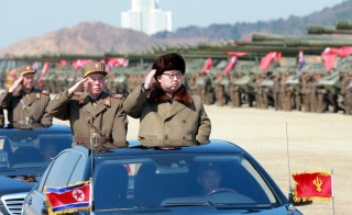 North Korean leader Kim Jong Un salutes as he arrives to inspect a military drill at an unknown location, in this undated photo released by North Korea's Korean Central News Agency (KCNA) on March 25, 2016. Photo provided by Reuters/KCNA