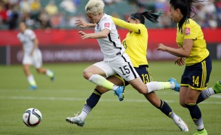 U.S. Midfielder Megan Rapinoe is fouled by Colombia defender Angela Clavijo in the box during the round of sixteen in the FIFA 2015 women's World Cup. Photo by Erich Schlegel/USA TODAY Sports/via Reuters