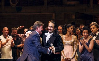 """Lin-Manuel Miranda, actor and creator of the of the play """"Hamilton,"""" thanks a member of his creative team after opening night of the play on Broadway in New York. Photo by Lucas Jackson/Reuters"""