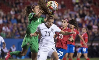Costa Rica goalkeeper Dinnia D'az (left) makes a save on a shot by U.S. forward Alex Morgan (center) during a game at Toyota Stadium in Frisco, Texas, on Feb 10. Photo by Jerome Miron-USA TODAY Sports via Reuters