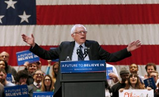 Democratic presidential candidate Bernie Sanders speaks during a rally in Akron, Ohio. Photo by Shannon Stapleton/Reuters
