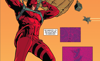 Daredevil flying in for another rescue, Issue #7 2014. Photo courtesy of Marvel Comics