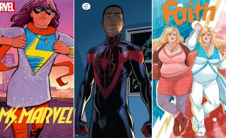 Superheroes come in all shapes and colors: Ms. Marvel is a Pakistani American superhero; Spider-Man, aka Miles Morales, is a Black Hispanic teen; and Faith is a plus-size crime fighter in Los Angeles. Ms. Marvel and Super-Man images courtesy of Marvel and Faith courtesy of Valiant