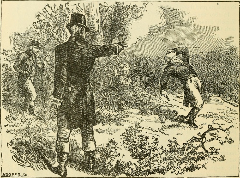 """Illustration of the Aaron Burr, Alexander Hamilton duel from the book """"Our greater country,"""" published in 1901."""