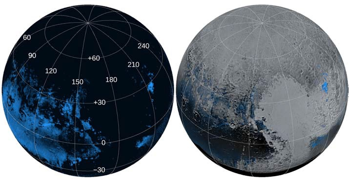 Want the purest water on Pluto? This map shows Pluto's water (H2O) ice, namely places where it doesn't appear to be contaminated by other chemicals. Photo by Grundy WM et al., Science, (2016)