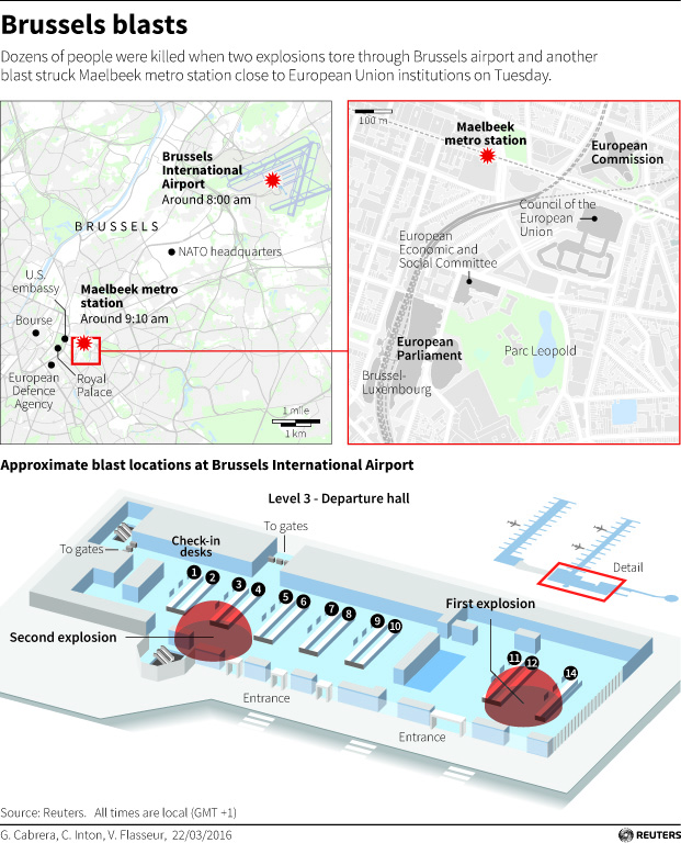 ISIS Claims Responsibility For Brussels Attacks At Least Dead - Brussels airport map
