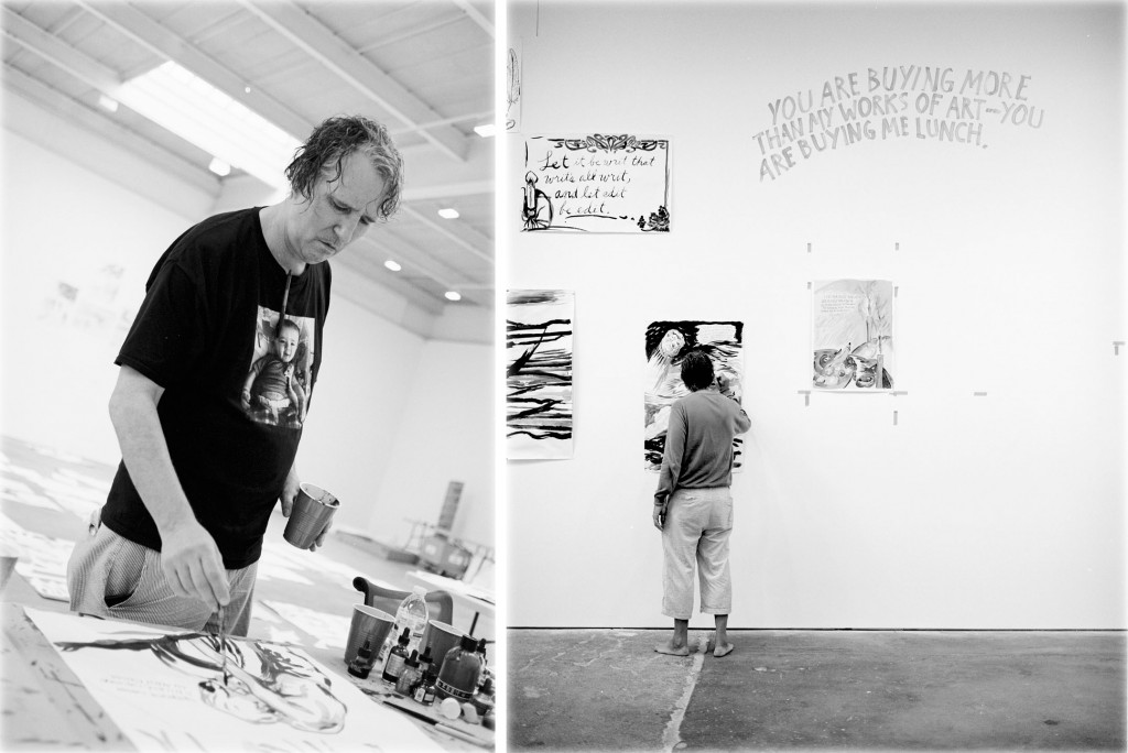 Raymond Pettibon at work. Photos by Andreas Laszlo Konrath, courtesy of David Zwirner Books.