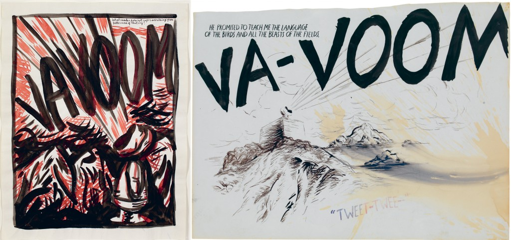 """Left: """"No Title (What reader does …),"""" 1989. Right: """"No Title (Va-voom. He promised …),"""" 1993. Images courtesy of David Zwirner Books"""
