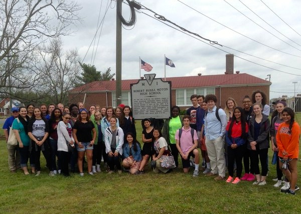 Students from West Potomac High School  visit the school where 16-year-old Barbara Rose Johns led her classmates at Moton High on a two-week strike for better schools. Farmville, Va. Photo courtesy of Jeff Feinstein