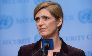 U.N. Ambassador Samantha Power's trip to Cameroon's front lines in the war against Boko Haram started horrifically Monday as an armored jeep in her motorcade struck and killed a young boy who darted into the road. Photo by Albin Lohr-Jones/Pacific Press/LightRocket via Getty Images