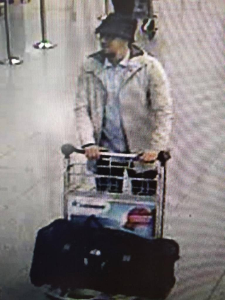 In this handout provided by the Belgian Federal Police, a screengrab of the airport CCTV camera shows a suspect from this morning's attacks at Brussels Airport pushing a trolly with suitcases, on March 22, 2016 in Zaventem, Brussels, Belgium. At least 31 people are thought to have been killed after Brussels airport and a Metro station were targeted by explosions. The attacks come just days after a key suspect in the Paris attacks, Salah Abdeslam, was captured in Brussels. Belgian Federal Police via Getty Images