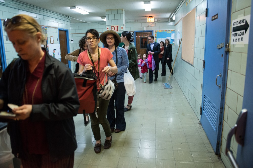People line up to check into their voting station at Public School 321 on April 19, 2016 in the Brooklyn borough of New York City. Long lines were among a volley of complaints against the New York City Board of Elections. Stephanie Keith/Getty Images