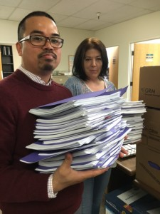 In a photo provided by the San Francisco Public Defender's office, two paralegals in the newly established Bail Unit are working to contest the bail of nearly every client. Photo by the San Francisco Public Defender's office