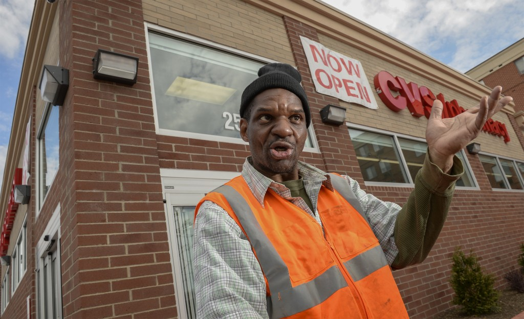 Willie Zuber, 50, says he comes to CVS almost every day. He shops for household good and fills prescriptions; while waiting for medications, he grabs a soda or an iced tea, he said. Photo by Doug Kapustin for Kaiser Health News