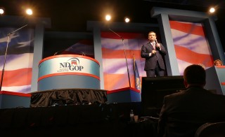 Senator Ted Cruz speaks at the state Republican party convention in Fargo, North Dakota on Saturday. Photo by Daniel Bush