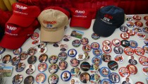 Political memorabilia on sale Robin McNamara's stand at the state Republican Party convention in Fargo, North Dakota. Photo by Daniel Bush.