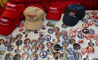 Political memorabilia on sale Robin McNamara's stand at the state Republican Party convention in Fargo, North Dakota. Photo by Daniel Bush.