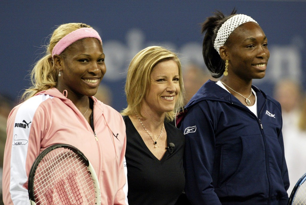 "Venus Williams (R) and sister Serena Williams (L) pose with Chris Evert before the start of the women's final at the U.S. Open in Flushing, New York in 2002. Evert, who has 18 Grand Slam wins to her name, said at the Miami Open in March that it ""would just be nice for the ATP and WTA to get in the same room and have a little conversation."" Photo by  Kevin Lamarque/Reuters"