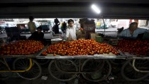A roadside vendor arranges tomatoes on his handcart as he waits for customers under a flyover in Ahmedabad, India, March 8, 2016. REUTERS/Amit Dave - RTS9S9H