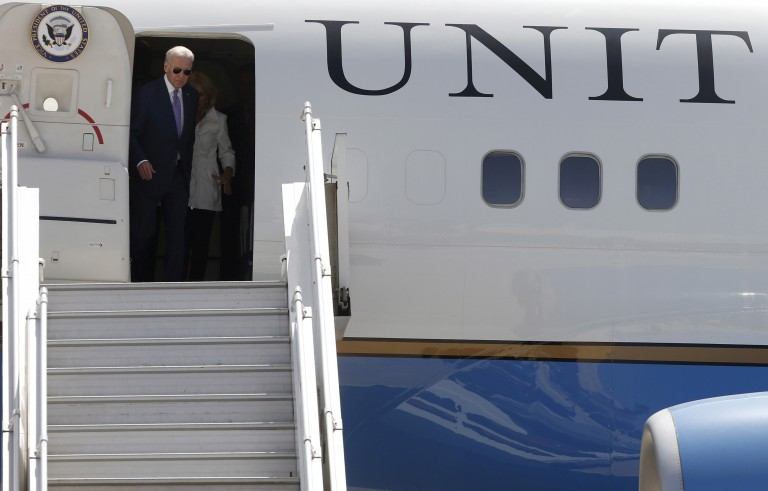 Vice President Joe Biden arrives at Amman's military airport, Jordan in March. Biden made a surprise trip to Baghdad on Thursday to address the infighting currently gripping the country. Photo by Muhammad Hamed/Reuters