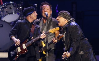 Bruce Springsteen (C), Stevie Van Zandt (R) and Roy Bittan perform during The River Tour at the LA Memorial Sports Arena in Los Angeles, California March 17, 2016. REUTERS/Mario Anzuoni - RTSB0L2
