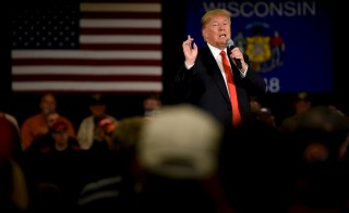 Republican presidential candidate Donald Trump speaks at a town hall event in Appleton, Wisconsin. Photo by Mark Kauzlarich/Reuters