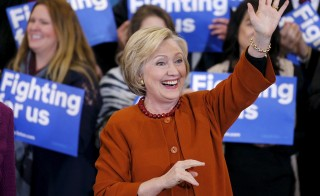 U.S. Democratic presidential candidate Hillary Clinton reacts as she waves to supporters at a campaign rally in Eau Claire, Wisconsin, April 2, 2016. REUTERS/Adam Bettcher - RTSDB6Q