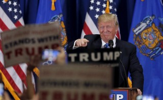 Donald Trump at a campaign rally in West Allis, Wisconsin, Sunday. Photo by Jim Young/Reuters