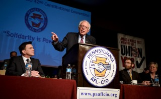 Democratic U.S. presidential candidate Bernie Sanders speaks at the Pennsylvania AFL-CIO convention in Philadelphia, Pennsylvania, April 7, 2016. REUTERS/Mark Kauzlarich - RTSE110