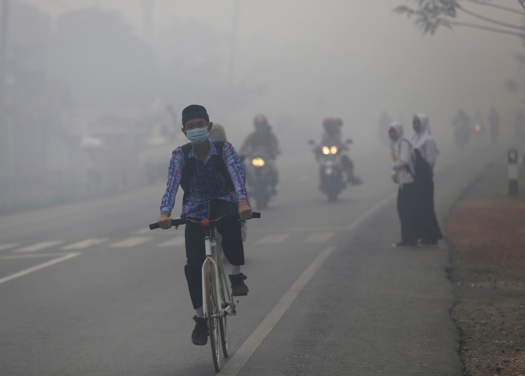 A boy rides his bike in the haze along a highway outside the south Kalimantan city of Banjarmasin October 28, 2015. Indonesia's weather agency failed to predict that the effects of the El Nino weather phenomenon this year would be worse than in 1997. Last autumn, fires that raged across the archipelago created a haze that blanketed much of Southeast Asia, and, according to authorities, left more than half a million Indonesians suffering from respiratory ailments. Photo by  Darren Whiteside/REUTERS