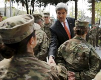 U.S. Secretary of State John Kerry meets U.S. military personnel at Resolute Support Headquarters in Kabul April 9, 2016. REUTERS/Jonathan Ernst - RTX297MQ